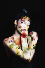 beautiful woman flower portrait double exposure photo