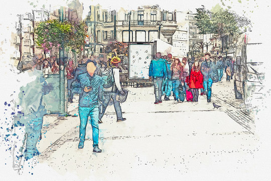 A watercolor sketch or an illustration. There are a lot of people in the city street. Ordinary city life.