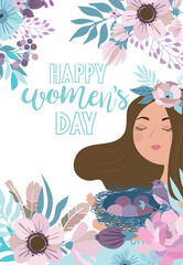 """Cute poster in pastel color """"International Women's Day"""" with flowers and girl fairy. Editable vector illustration"""