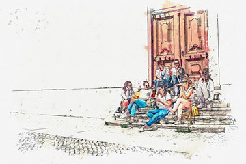 A watercolor sketch or an illustration. A group of teenage girls or students or girlfriends sit together and communicate on the stairs in a city street.