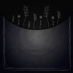 Chalkboard background with drawing plants