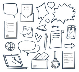 Office Messages and Thought Bubbles Set Vector