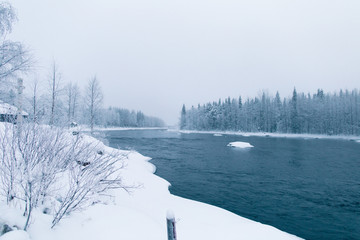 view of a river with ice, snow, in a polar region with tree in winter, Finland