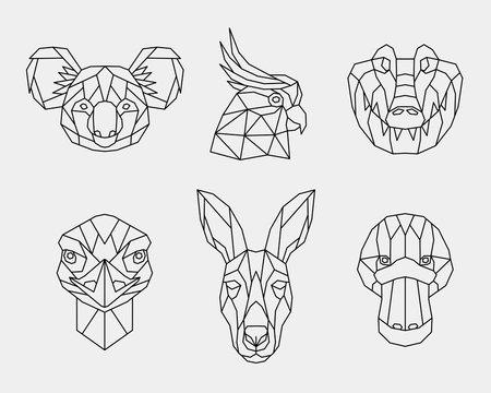 Set of abstract polygonal animals of Australia. Linear geometric Koala, kangaroo, cockatoo, platypus, crocodile, ostrich. Vector illustration.