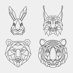 Set of abstract polygonal animals. Linear geometric tiger, lynx, hare, bear. Vector illustration.