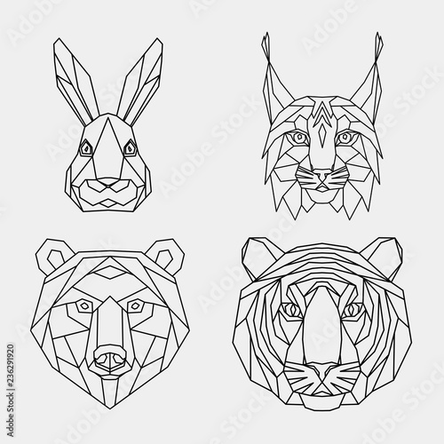 d7805bf75 Set of abstract polygonal animals. Linear geometric tiger, lynx, hare,  bear. Vector illustration.