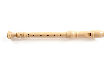 wooden flute isolated on white