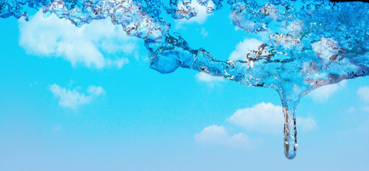 ice melts in spring. Blue sky