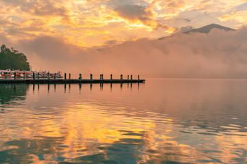 Sunrise over Sun Moon Lake at Taiwan, natural landscape background