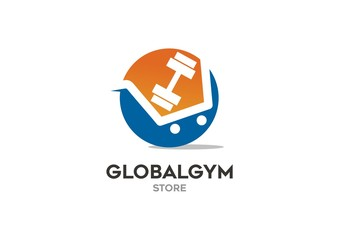 Fitness store logo concept / chart and dumbbell in sphere vector