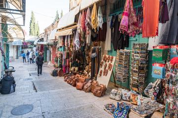 The Arab market in David street in the old city of Jerusalem, Israel