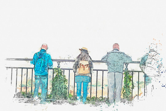 A watercolor sketch or an illustration. People on the observation deck admire the beautiful view in Prague. Prague is one of the favorite cities for tourists.