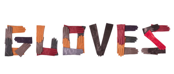 The word laid out of colored gloves.