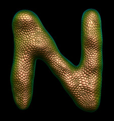 Letter N made of natural gold snake skin texture isolated on black.