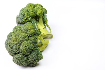 juicy tasty broccoli on white background