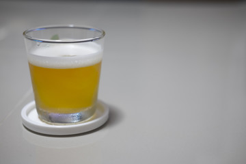 Tasty cold beer in clear glass
