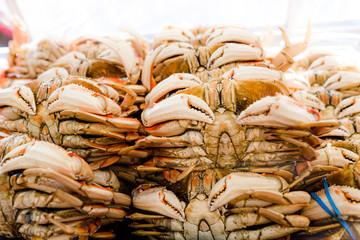 crabes sur les étales de San Francisco