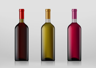 Set of wine bottles. Isolated on gray background.