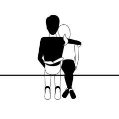 Couple hugging each other. Valentine day. Vector illustration design