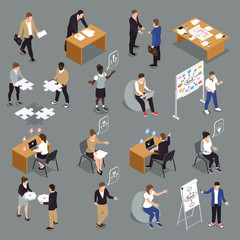 Teamwork Collaboration Isometric Set
