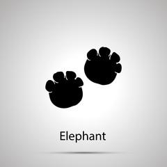 Elephant paws, steps imprints, simple black silhouette