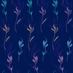 Painted flowers in a free style vector seamless pattern, a concept vector illustration