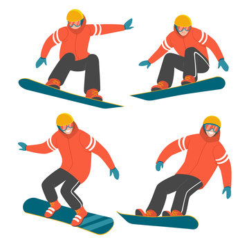 Snowboarding collection. Vector illustration of a man in red winter jacket in different poses in action on the snowboard. Isolated on white.