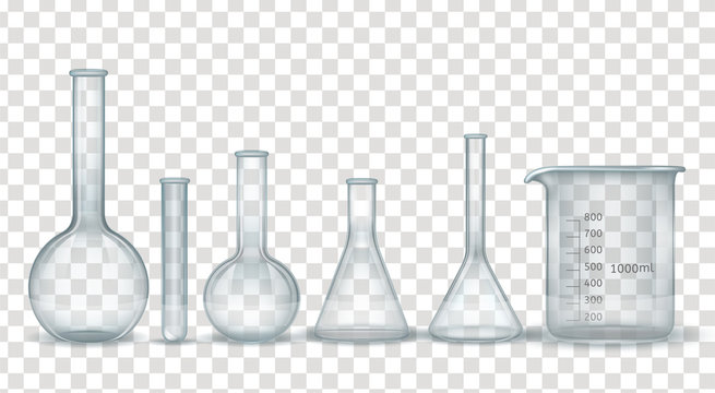 Realistic laboratory chemical and medical glassware set