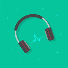 Headphones playing music vector illustration isolated, headset with sound waves