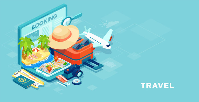 Vector of travel equipment and luggage on a mobile laptop touch screen