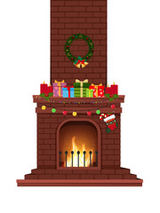 Cartoon decorated burning fire place with many presents on white background.