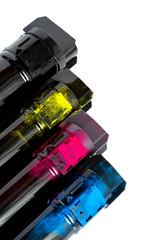 Toner cartridge set for color laser printer. Equipment for printingon white background