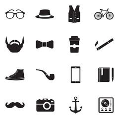 Hipster Icons. Black Flat Design. Vector Illustration.