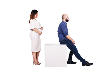 concept of family conflict problems. Pregnant woman and bearded man isolated on white