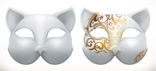 Cat mask 3d vector icon