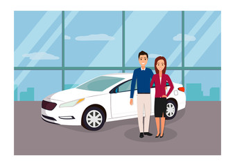 Young family buying a white vehicle at the car showroom. Vector illustration. Car sale concept.