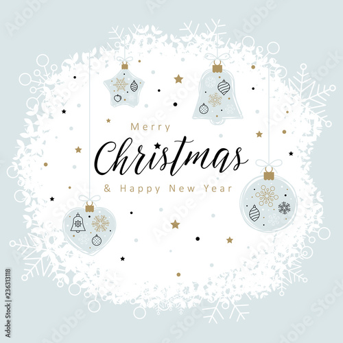 Christmas Card Template With Christmas Decorations Made From