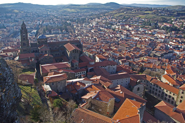 View of the cathedral and the city of Le Puy en Velay in Auvergne, France