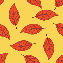 Seamless Pattern with Red Dried Beech Leaf