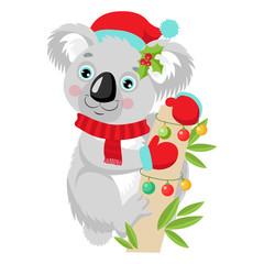 Funny Koala Christmas Vector. Cute Animal Cartoon Character Holiday Vector Illustration On A White Background. Koala In A Santa Hat Sitting On The Eucalyptus Tree.