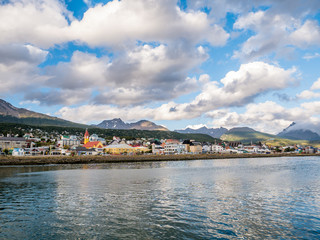 View from Beagle Channel of waterfront skyline of Ushuaia in Tierra del Fuego, Patagonia, Argentina