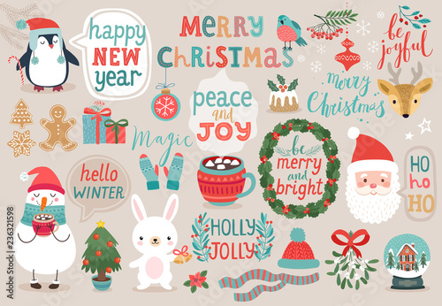 Wall mural Christmas set, hand drawn style - calligraphy, animals and other elements.