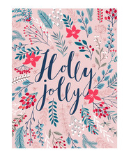 Wall Mural - Christmas Callygraphic card - hand drawn floral