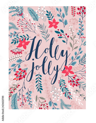 Wall mural Christmas Callygraphic card - hand drawn floral