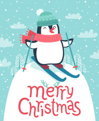 Wall Mural - Cute penguin skiing down the hill. Merry Christmas card.