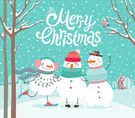 Wall Mural - Cute snowmen hugging. Merry Christmas card,