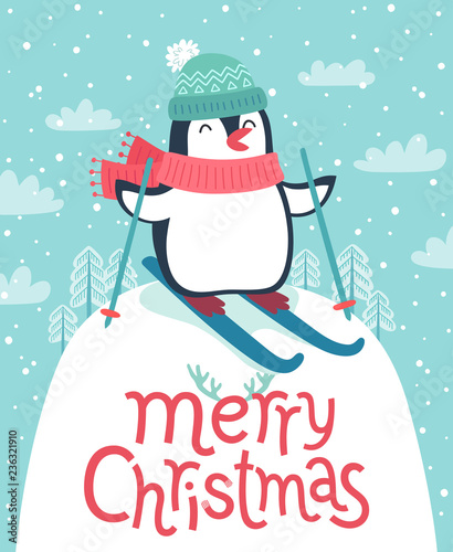 Wall mural Cute penguin skiing down the hill. Merry Christmas card.