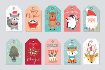 Fototapete - Christmas gift tags set with cute characters.