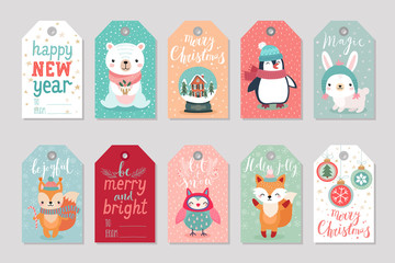 Fototapete - Christmas gift tags set with cute characters,