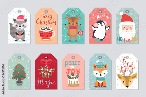 Wall mural Christmas gift tags set with cute characters.